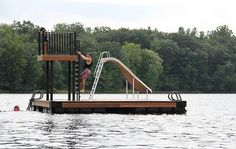 Wahoo Docks swim platform with fixed and retractable ladder and steps - plus a slide! Floating Raft, Floating House, Lake Toys, Cabin Decks, Deck Steps, Haus Am See, Lakeside Living, Lakefront Homes, Boat Dock