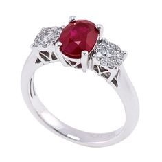 RR23147: Made in 18K white gold, this ring features a 2.00ct ruby center stone and a total of 0.28ct premium cut round diamonds. | www.goldcasters.com