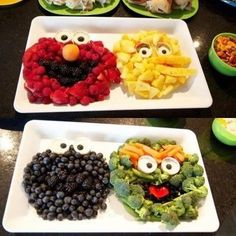 Sesamstraßen-Figuren zum Essen aus Obst und Gemüse