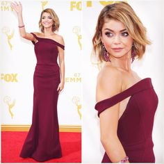 2015 EMMY AWARDS:  Sarah Hyland in Zac Posen  Are you a fan of Sarah's perfectly plum ensemble?  To recap all your favorite Emmy nominees most notable looks head over to RedCarpetMan.com!  #redcarpetman #rcm #fashion