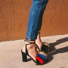 Loeffler Randall FW16 - Nicolette sandal in Multi-Color Fox Fur