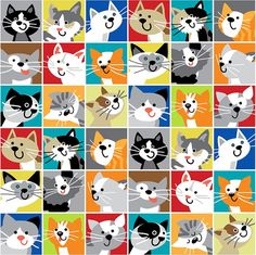 A Cat Tale by Sarah Frederking Quilt Fabric Fat Quarter Fabric Animals, Cat Quilt, Cat Fabric, All About Cats, Cat Pattern, Cat Drawing, Crazy Cats, Cool Cats, Doodle Art