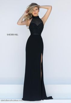 All eyes will be on you in this understated hottie by Sherri Hill! Sparkles are included though!...with the tonal bugle beads on the beautiful and sexy halter bodice! Perfect for soo many occasions and comes in Ivory and Red too! #militaryball #blacktieformal #prom #youngmotherofthebride #formal #sherrihill Get it while you still can at Christina's!