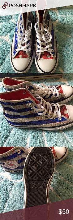 Converse All Star sneakers Converse All Star high top sneakers. Very patriotic sneakers. Sequins are red, white and blue. Great to show your patriotism. Great for Memorial Day, July 4th, Flag Day and Labor Day. Size 8 ladies. Converse Shoes Sneakers