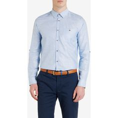 Ted Baker Classic Linen-Blend Shirt Blue ($165) ❤ liked on Polyvore featuring men's fashion, men's clothing, men's shirts, men's casual shirts and blue