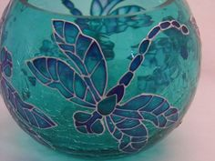 Hand Painted Glass Dragonfly Candle Holder Blue Crackled Glass Upcycled Glassware