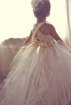 Lace and Tulle Flower Girl Dress Tutu Satin Sash by KingSoleil, $198.00