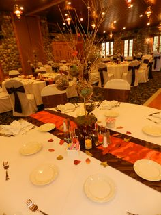 Fall wedding decor.   Open glass balls with succulents, brown and burnt orange table runners. Facebook.com/tarabrookevents