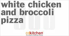 Made with broccoli florets, chicken, mushrooms, Alfredo sauce, pizza crust, Italian-blend cheese, Swiss cheese, dried basil, dried oregano, garlic salt, olive oil cooking spray | CDKitchen.com