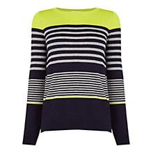 Oasis Variegated Stripe Jumper, Navy/Multi