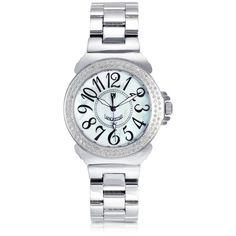 Lancaster Women's Watches Pillola Bracelet Women's Watch w/Diamonds (86.450 RUB) ❤ liked on Polyvore featuring jewelry, watches, silver, women's watches, bezel jewelry, bezel watches, quartz movement watches, water resistant watches and lancaster watches