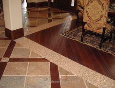 Floor Combination Wooden Floor Tile And Wood Floor Combination New Home Designs click now for info. Wooden Floor Tiles, Wood Tile Floors, Wooden Flooring, Hardwood Floors, Foyer Flooring, Living Room Flooring, Kitchen Flooring, Flooring Ideas, Floor Design