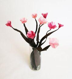 To Cherry Blossoms Origami Flower Bouquet  Translucent cakepins.com