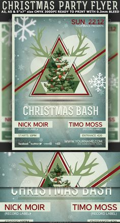 "Christmas Minimal Party Flyer/Poster Template is very modern psd flyer that will give the perfect promotion for your upcoming event or nightclub party coming up on Holidays of Christmas and New Year!  3 PSD files – A3, A5 and 5""x7"" with 0.3mm bleed  Clearly labeled folders and layers  CMYK – 300dpi – Ready to print with guides  2 background options available"