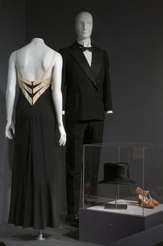 LEFT: Muriel King Woman's Evening ensemble in black silk, circa 1937; RIGHT: Persall Tailors Man's tuxedo in wool and satin, 1936