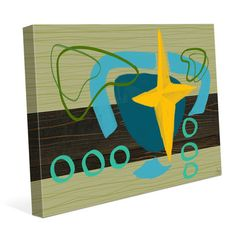 Click Wall Art Stars and Shapes Painting Print on Wrapped Canvas Size: