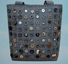Button Handbag tote grey quilting---idea for samples buttons and perhaps forButton Handbag tote grey quilting - a way to use some of those thousands of button I have collected over the years.Purple lovebirds cushion with floral appliqued lovebirdsBlu Patchwork Bags, Quilted Bag, Button Art, Button Crafts, Bag Quilt, Fabric Crafts, Sewing Crafts, Craft Bags, Denim Bag