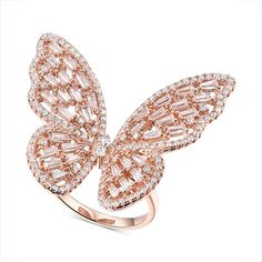 Macy's Cubic Zirconia Butterfly Ring in Rose Gold-Plated Sterling Silver - Fashion Jewelry - Jewelry & Watches - Macy's Butterfly Ring, Butterfly Jewelry, Silver Bracelets, Silver Earrings, Silver Ring, 925 Silver, Silver Diamonds, Earrings Uk, Jewelry Rings