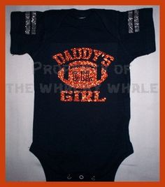 Glitter Bling Football Daddy's Girl football one-piece jersey. $11.99, via Etsy.