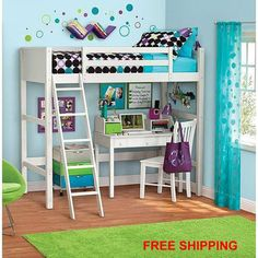Twin Wood Wooden Loft Style Bunk Bed White Storage Bedroom Teens Kids Furniture