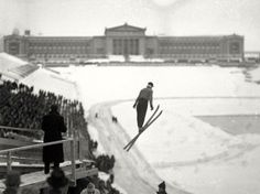 The first ever Chicago Ski Tournament held at Soldier Field on Feb. 16, 1936. A huge slide was erected on the South end of the lake front arena. An unemployed road worker from Minnesota, Eugene Wilson, 22, won the tournament with a 68 foot jump. A snowstorm prevented the skiers from making attempts on the steel slide, which was erected over the permanent stands in the south end of the arena. — Chicago Tribune historical photo
