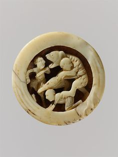 Game Piece with Menelaus and Companions Battling Proteus, walrus ivory, northern France, ca. 1125-50