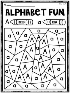 Color by Alphabet Letter Worksheets Pack of fun coloring worksheets that reveal the letter being practiced! There are uppercase and lowercase letter discrimination like these and they also come in a format to practice identifying each letter from other letters - so cool!