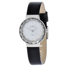 This women's Skagen watch features stainless steel and leather construction. Sparkling crystal elements highlight the silver dial of this fine timepiece.