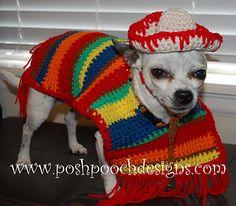 Dog Poncho and Sombrero - Cinco De Mayo Dog Costume Crochet Dog Clothes, Crochet Dog Sweater, Pet Clothes, Dog Crochet, Dog Clothing, Crochet Animal Patterns, Stuffed Animal Patterns, Crochet Animals, Crochet Pattern