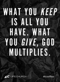 Give abundantly and with love