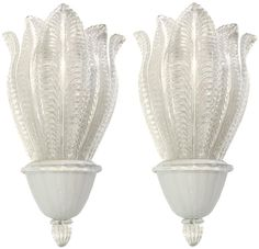 Large Barovier Glass Leaf Sconces ( Five Sconces Available ) For Sale at Vintage Wall Lights, Modern Wall Lights, Contemporary Lamps, Outdoor Lighting, Cool Furniture, Wall Sconces, Master Bathroom, Chandelier, Indoor