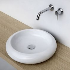 Vasque à poser ronde 46 cm céramique, Pure - 89€