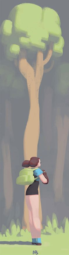 girl and tree by nbekkaliev on DeviantArt