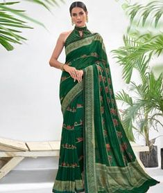 Chanderi Silk Saree Chanderi Silk Saree, Silk Sarees, Long Cut, Spring Sale, Green Fabric, Blouse Online, How To Dye Fabric, Color Shades, Head To Toe