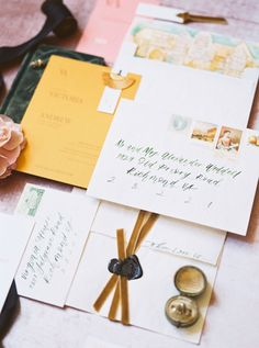 A modern wedding at Virginia House in Richmond VA. Mustard Wedding Invitations, Unique Wedding Invitations, Invites, Grass Centerpiece, Modern Wedding Inspiration, Hand Painted Walls, Envelope Liners, White Bridal, Bridal Style