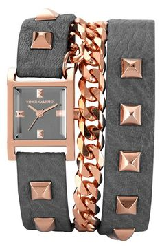 Vince Camuto Double Wrap Chain & Leather Strap