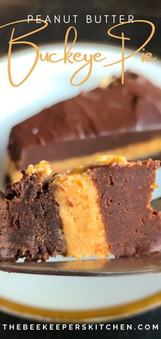 Peanut Butter Buckeye Pie is a peanut butter lovers dream! Rich chocolate ganache and brownie makes this a sinfully delicious dessert! The perfect peanut butter dessert!
