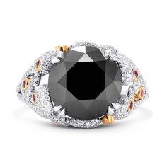 Extraordinary Fancy Black Round Diamond Designer Ringsku: