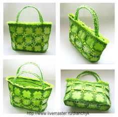 Milk Jugs and Crochet into totes livemaster.ru