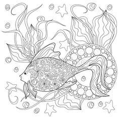 Mandalas y doodle fish — Ilustración de stock #93375260