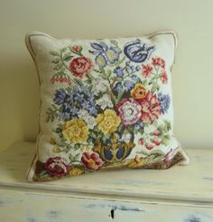 Needlepoint Pillow Floral Design 16 x 15 by VintageSouthernPicks