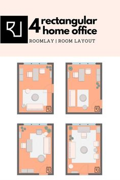 We created four rectangular shaped home office layout with boho furniture selection. Check out our home office furniture arrangement ideas! #homeoffice #rectangularofficelayout