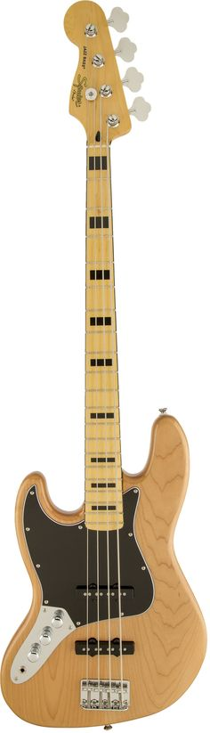 """Squier's Vintage Modified Jazz Bass '70s returns you to a great period in Jazz Bass history, with dual Fender-designed pickups and a slim """"C""""-shaped maple neck with a vintage-tint gloss finish. Other"""