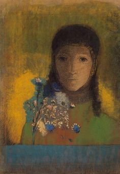 Odilon Redon, Woman with Wildflowers, 1890-1900.  Art Experience NYC  www.artexperiencenyc.com/social_login/?utm_source=pinterest_medium=pins_content=pinterest_pins_campaign=pinterest_initial