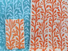 Hand Printed Fabric and Hand Carved Print Block by Amy Rice, via Flickr