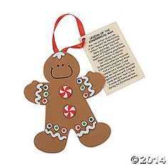 """""""Legend Of The Gingerbread Man"""" Christmas Ornament Craft Kit. Discover the origin of the Gingerbread Man with this fun self-adhesive foam ..."""