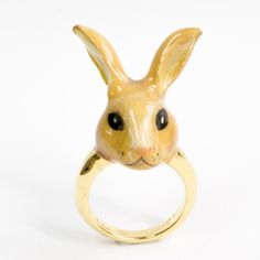 Hand-painted Porcelain Yellow Rabbit Ring