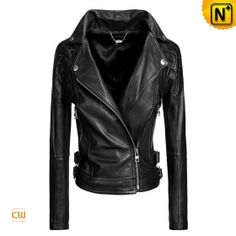 Embroidered Leather Motorcycle Jacket $488.89