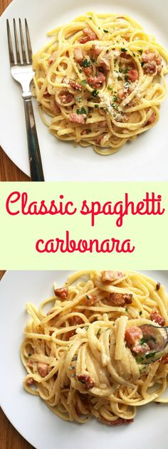 Classic spaghetti carbonara recipe with bacon lardons, eggs and parmesan cheese. The most famous pasta recipe that is loved all over the world. Dinner's ready in well under 30 minutes.