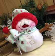 "Primitive HC Holiday Christmas Doll Snowman Snowflake 7"" Super Cute!"